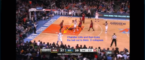 Chandler pass to Melo